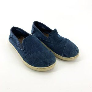 Toms Youth Blue Canvas Slip On Shoes